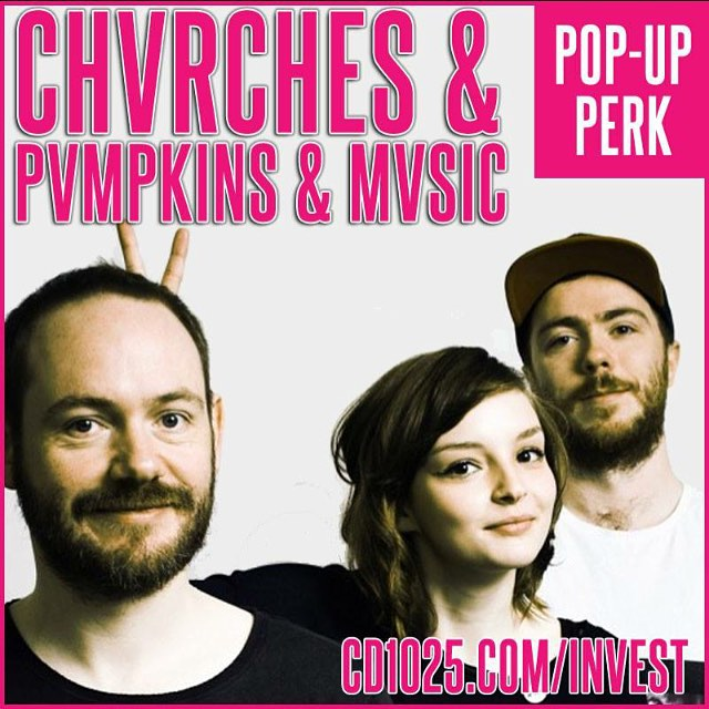 CHVRCHES & PVMPKINS & MVSIC at the CD102.5 Big Room Bar in Columbus this October